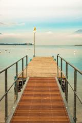 Walkway over the Lake Garda, Italy.