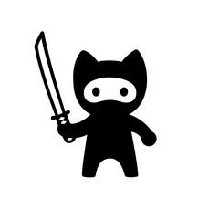 Cute cartoon ninja cat