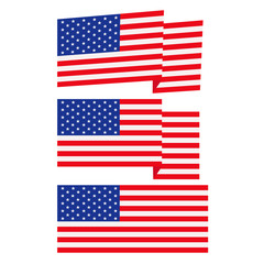 American flag, flat vector illustration