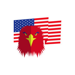 red eagle head and american flag, flat vector illustration