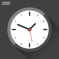 Clock icon in flat style, timer on black background. Vector design element