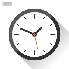 Clock icon in flat style, timer on white background. Vector design element