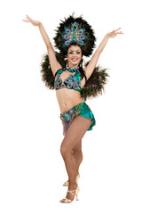one caucasian woman samba dancer dancing isolated on white in full length