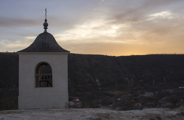 The bell tower of the cave monastery in Old Orhei, Moldova