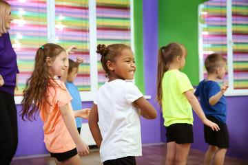 Children dancing in choreography class
