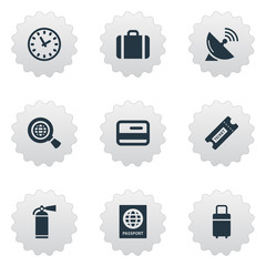 Set Of 9 Simple Transportation Icons. Can Be Found Such Elements As Credit Card, Protection Tool, Watch And Other.