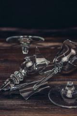 broken dishes, splinters, wooden background