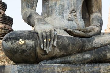Stucco of Buddha image hand.