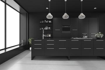 3d rendering black modern luxury kitchen