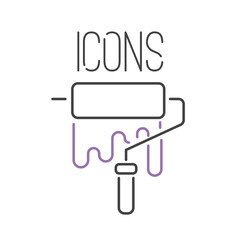 art icon vector illustration design linear artistic ink pictogram button crafts graphic collection thin symbol icon web line flat paint isolated
