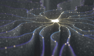 Artificial neuron in concept of artificial intelligence. Wall-shaped binary codes make transmission lines of pulses and/or information in an analogy to a microchip.