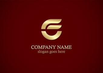 round shape gold letter e logo