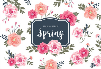 Spring Sale Poster with beautiful flowers background