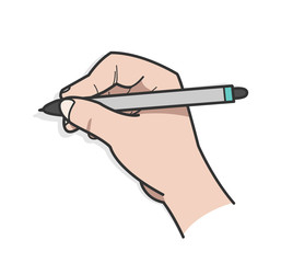 Hand Holding A Digital Pen, a hand drawing vector illustration  of art drawing concept.