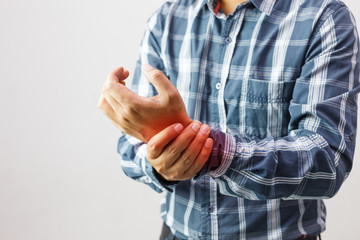 man suffering from elbow joint pain,people, healthcare and problem concept