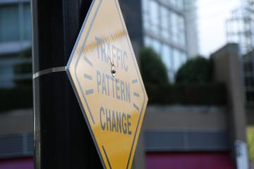 Background warning sign change road