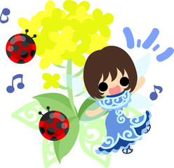 Pretty fairy and beautiful brassica and two ladybug
