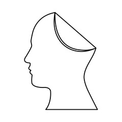 sketch silhouette head human with fold icon vector illustration