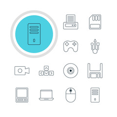 Vector Illustration Of 12 Computer Icons. Editable Pack Of Cursor Manipulator, Objective, Printer And Other Elements.