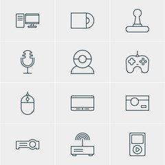 Vector Illustration Of 12 Hardware Icons. Editable Pack Of Sound Recording, Cursor Controller, Media Controller And Other Elements.