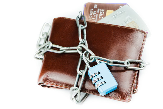 wallet with lock padlock on a white background. Concept of  finance security