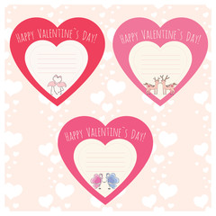 Hearts with Couple of deer,flamingo and butterfly