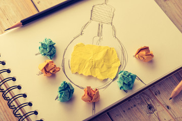 Inspiration concept crumpled paper with light bulb metaphor for good idea,vintage ton style