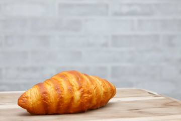 Croissant on the wood table