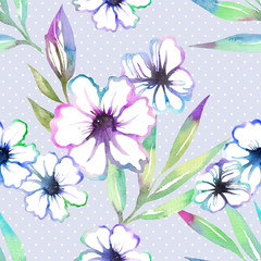 Floral seamless pattern with cute summer flowers watercolor. Sweet summer background in hand drawn style on polka dots. For textile, paper, wrapping and decoration