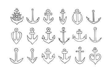 Hand drawn simple anchors set. Vector. Doodle sailor suit anchors. Hand drawn illustration. Sailor anchors
