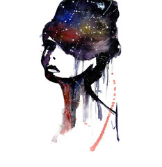 Woman's face silhouette with  galaxy background. Watrcolor woman silhouette with the universe. Abstract watercolor art.
