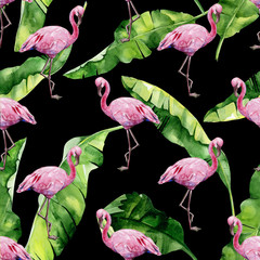 Tropical leaves, dense jungle. Banana palm leaves Seamless watercolor illustration of tropical pink flamingo birds. Trendy pattern with tropic summertime motif. Exotic Hawaii art background.