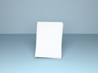 Empty paper sheets floating above virtual surface. Realistic 3D illustration