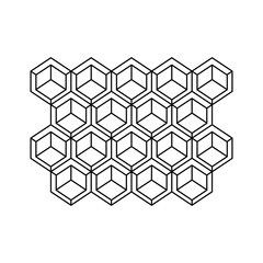 monochrome contour with abstract hexagon pattern vector illustration