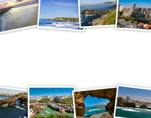 Heap of Biarritz travel photos with a white background