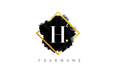 H Letter Logo Design with Black Stroke and Golden Frame.
