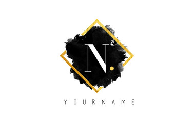 N Letter Logo Design with Black Stroke and Golden Frame.