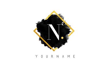 N Letter Logo Design with Black Stroke and Golden Frame.