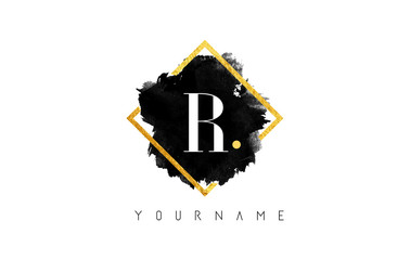 R Letter Logo Design with Black Stroke and Golden Frame.
