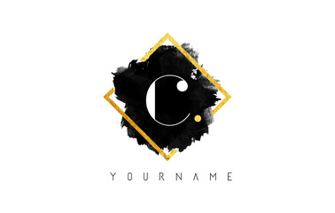 C Letter Logo Design with Black Stroke and Golden Frame.