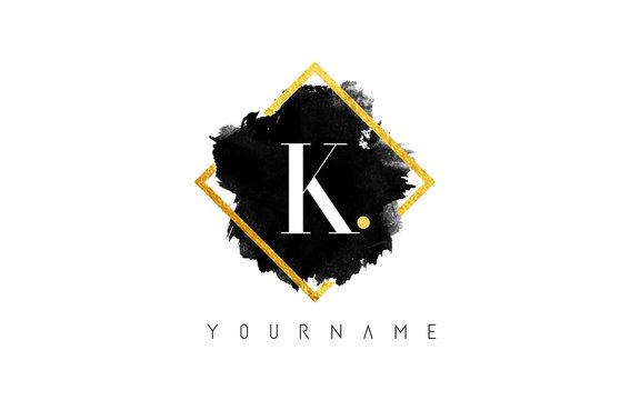 K Letter Logo Design with Black Stroke and Golden Frame.