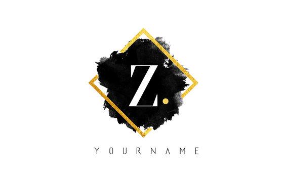 Z Letter Logo Design with Black Stroke and Golden Frame.