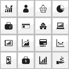 Set Of 16 Editable Statistic Icons. Includes Symbols Such As Money Bag, Pay Redeem, Schema And More. Can Be Used For Web, Mobile, UI And Infographic Design.