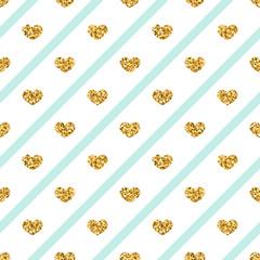Gold heart seamless pattern. Golden glitter love confetti hearts on white blue line background. Diagonal stripe. Design Valentine day, wedding wallpaper. Modern holiday texture Vector illustration