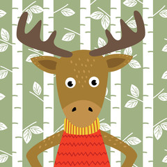 elk on background of birch trees  - vector illustration, eps