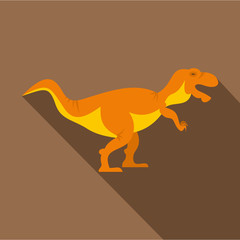 Orange tyrannosaur dinosaur icon, flat style