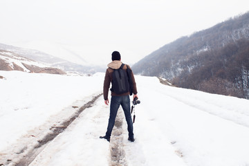 Photographer in winter.