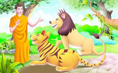 Buddha teaching to Lion and Tiger