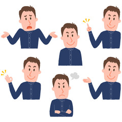 illustration of various facial expressions of a man
