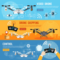 Drone for delivery, shadowing and entertainments modern technologies. Drone flat banner, modern drone and remote control